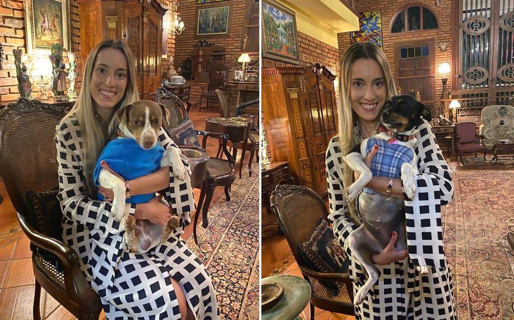 Carolina Botelho com os cães Dingo e Cacau - Foto Acervo Pessoal